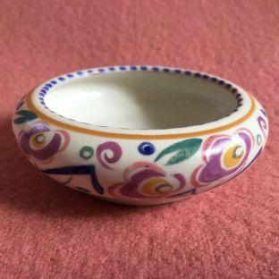 EARLY POOLE POTTERY RED CLAY SMALL POSY BOWL, ART DECO HAND PAINTED  1927-29
